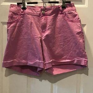 Lane Bryant Pink Cuffed Jean Shorts-Size 16